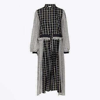 Stine Goya - Felisa Plaid Midi Robe - Noir