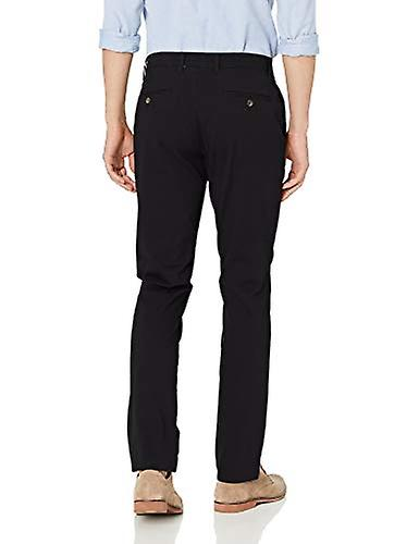Essentials Men's Skinny-Fit Casual Stretch Khaki Pant, Negro, 38W x 32L