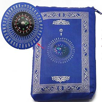 Polyester Portable Braided Muslim Prayer Rug - Simply Print With Compass In Pouch Travel