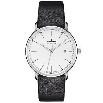 Junghans Forma um relógio automático 027/4730.00 Prata Dial Black Leather Strap Men's Watch