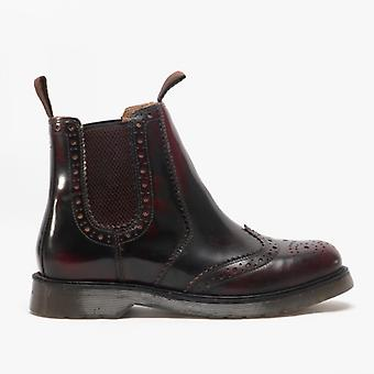 Grafters Dudley Unisex Hi-shine Brogue Boots Oxblood