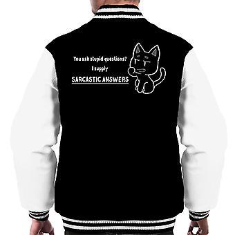 Dumme Fragen, die ich sarkastische Antworten Men's Varsity Jacke liefern