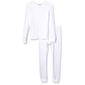 Essentials Boy's Thermal Long Underwear Set, White, Large