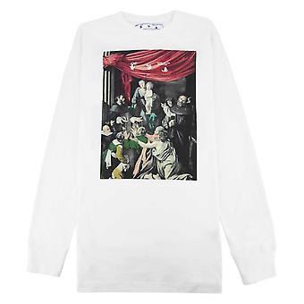 Off-White Off White Caravag Impresso L/s T Shirt Branco/preto