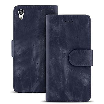 Vintage Wallet for Sony Xperia Z5 Stylish Leather Magnetic Lock Card Compartment Navy Blue