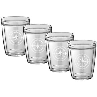 Kasualware 14 Oz. Doublewall Short Drink  Compass Point Set/4
