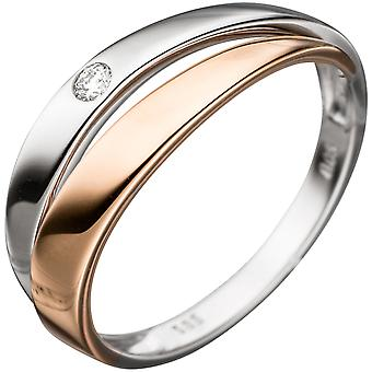 Damen Ring 585 Gold Weißgold Rotgold bicolor 1 Diamant Brillant Diamantring  Größe:60