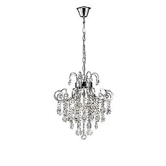 Inspirado Diyas - Rosina - Colgante de techo 6 Luz cromo pulido, cristal
