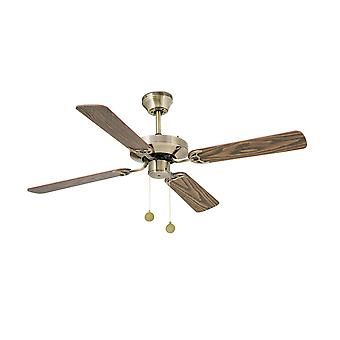 Medium Ceiling Fan with / without Light Antique Brass, Oak