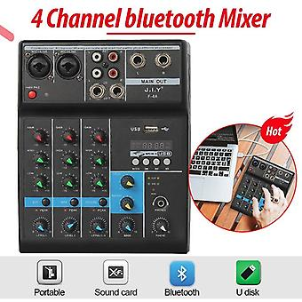 Professional 4 Channel Bluetooth Mixer- Audio Dj Console With Reverb Effect For Home Karaoke Usb Stage Karaoke Ktv