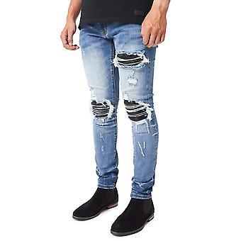 Amicci ? Sorrento Skinny Distressed Premium Denim Jean - Mid Blue