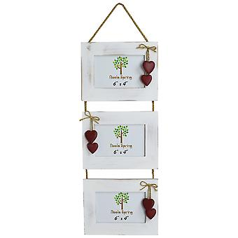 "Nicola Spring Triple White Wooden 3 Photo Hanging Picture Frame With Red Hearts - 6 x 4"" - Pack Of 2"
