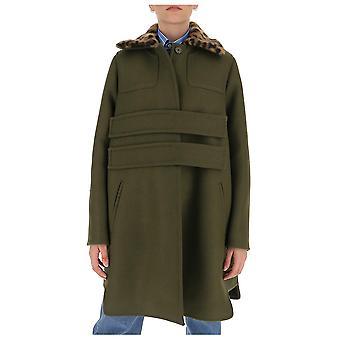 N°21 N02132195109 Women's Green Wool Coat