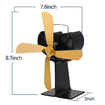Silent Blades Fireplace Stove Fan, Thermal Power Wood Log Efficient Heat