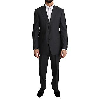 Z ZEGNA Gray Striped Two Piece 2 Button Wool Suit