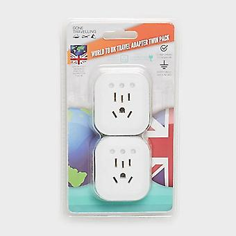 New Boyz Toys Twin Pack Plug Adaptor World to UK White