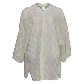 WynneLayers Women's Sweater Woven Novelty Fringe Topper White 682-653