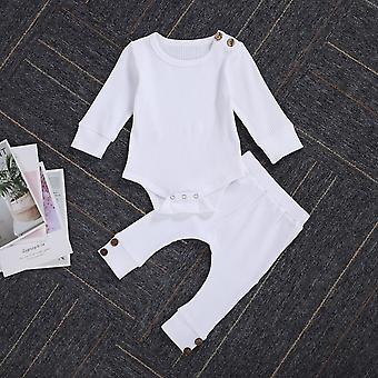 Toddler Kids Baby Ruffle Bodysuit, Romper, Top Solid Bowknot Pants