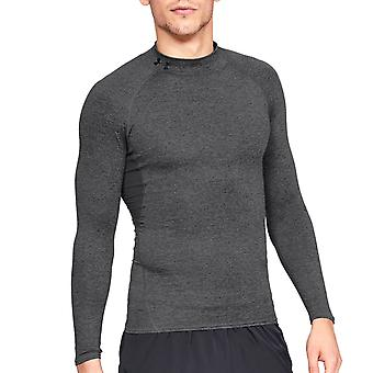 Under Armour HeatGear Armour Mock Neck Long Sleeve Mens Baselayer Shirt Charcoal