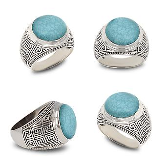 ADEN 925 Sterling Silver Turquoise Biker Ring (id 4845)