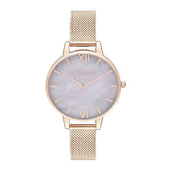 Olivia Burton Ob16sp16 Demi Semi Precious Amethyst And Rose Gold Mesh Watch