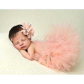 Baby Tutu Clothes Skirt Newborn Headdress Flower Photo Outfits #h055 #