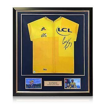 Geraint Thomas allekirjoitti Tour De France 2018 Yellow Jerseyn. Deluxe-kehys