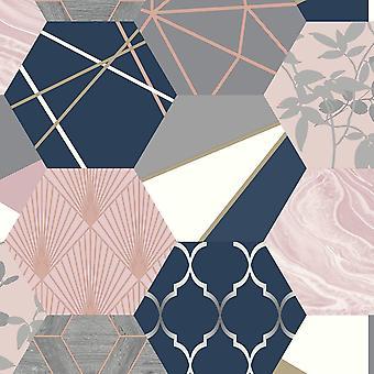 Geo Hexagon Patchwork Rosa Blush Navy Gold Rasch