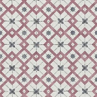 California Dreams Retro Tile Wallpaper Red Grey erismann