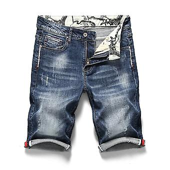 Heren's Stretch Short Jeans, Casual Slim Fit Elastic Denim Shorts Kleding