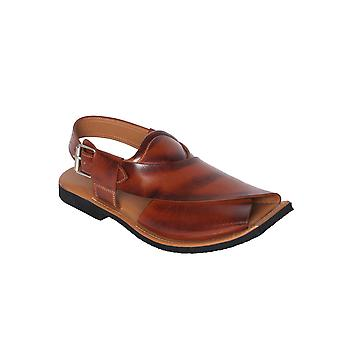 Cognac Color Waxed Shaded Mens Leather Fisherman Tire Sole
