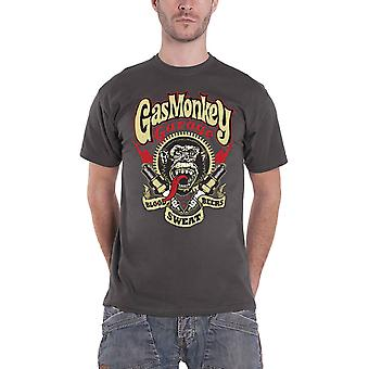 Gas Monkey Garage T Shirt Spark Plugs GMG Logo new Official Mens Charcoal