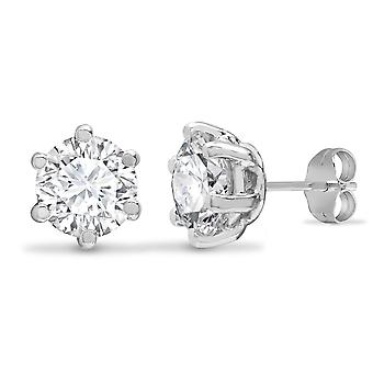 Jewelco London Solid 9ct White Gold White Round Brilliant Cubic Zirconia 6 Claw Solitaire Heavy Weight Stud Boucles d'oreilles, 6mm