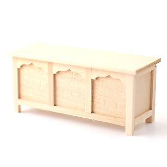 Dolls House Bare Wood Wedding Blanket Chest Attic Trunk Ottoman Miniature 01:12