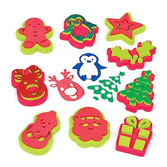 Baker ross af808 christmas stampers (pack of 10) arts & crafts stamps for kids-easy for children to