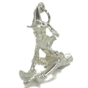 Witch On A Broomstick Sterling Silver Large Charm .925 X 1 Witches Charms - 45