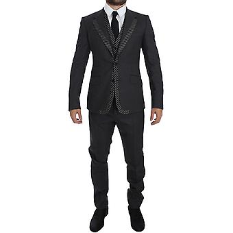 Dolce & Gabbana Gray Striped 2 Button 3 Piece Slim Suit Tuxedo