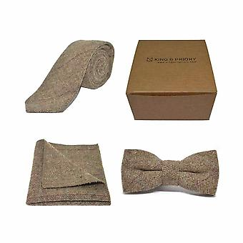 Lyxig Fiskben Brun Tweed Bow Tie, Slips & Pocket Square Set | Boxed