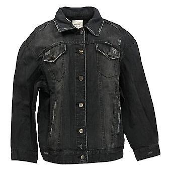 Rachel Hollis Ltd Women's Plus Distressed Denim Jacket Black A368016
