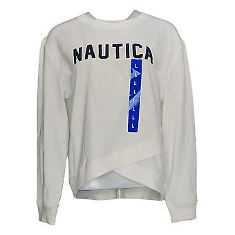 Nautica Women's Sweater Long Printed Long Sleeve Crew Neck White