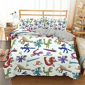 3d Dinosaur Family Bedding Set Cartoon Printed Bed Cover
