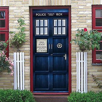 Blue Public Call Box Door Decoration Wallpaper 3d Wall Sticker