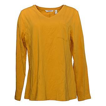 Isaac Mizrahi En direct! Femme Top V-Neck Knit W/ Chest Pocket Yellow A385194