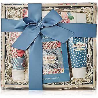 Gerui Cottage Patchwork Pamper Hamper (100ml Hand Cream, 50ml Body Scrub, Box Set of four Bathing