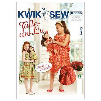 Kwik Sew Sewing Pattern 3906 Girls 18' Doll Dresses Made to Match Size XS-XL
