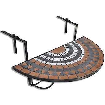 Hanging Balcony Table Terracotta And White Mosaic