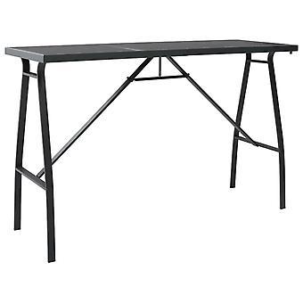 Garden Bar Table Black 180x60x110 Cm Tempered Glass