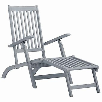 Outdoor Deck Chair With Footrest Grey Wash Solid Acacia Wood