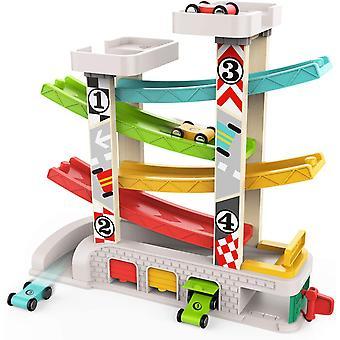 HanFei Kugelbahn Autos Holz ab 1 Jahr, Auto Rennbahn Holz Spielzeug, Holz Kinderspielzeug 1 2 Jahre