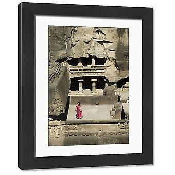 The Ellora Caves. Large Framed Photo. The Ellora Caves, temples cut into solid rock, near.